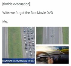 memes — iFunny [florida evacuation] Wife: we forgot the Bee Movie DVD Me: – popular memes on the site Film Meme, Bee Movie Memes, Bee Movie Quotes, Popular Memes, Funny Jokes, Hilarious, Laugh Out Loud, Dankest Memes, True Memes