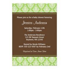 Trendy Green Brown Damask Baby Shower Custom Invitations