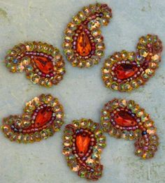 Sew on Beaded applique Orange/Gold Paisley- hand embroidered-  Orange crystal and Iridescent gold flower sequin