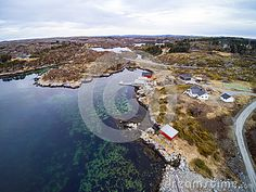 Photo about Kverva, Norway - March Aerial view from flying drone. Vegetation of Norway coast in early spring. Image of nature, produce, fishery - 89890893 Nature Images, Early Spring, Aerial View, Cottages, Norway, Vectors, Coast, Sign, Stock Photos