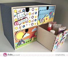 idea scrap: decorar cajones con papel scrapbook de la marca Anita y su mundo - Detalle 4