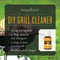 Get your grill sparkling clean with this DIY essential oil infused grill cleaner! Mix the first 3 ingredients, then add vinegar. After which, brush the mixture onto the grill and wait 15-30 minutes. Lastly, scrub with a grill brush and rinse with water. #