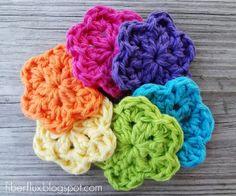 Fiber Flux...Adventures in Stitching: Free Crochet Pattern...Button Flowers