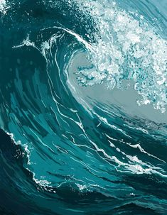"""Ocean Floor Impressionist style 8 """"x acrylic canvas painting No Wave, Modern Art Paintings, Seascape Paintings, Oil Paintings, Ocean Art, Ocean Waves, Ocean Ocean, Water Waves, Waves Photography"""