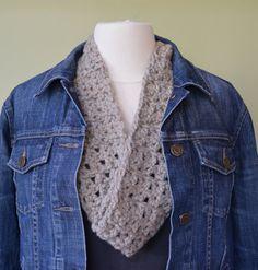 Crochet Infinity Scarf: Oatmeal Tan Infinity by JennyLynCrafts