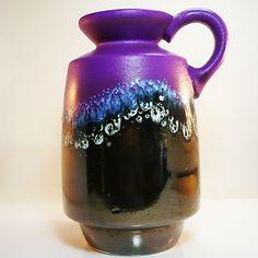 Jopeko FAT LAVA Vase Vintage Space Age W German Pottery purple / metallic glaze