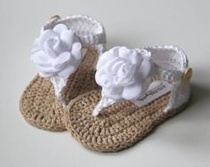 Zoe white tan baby girl sandals crochet baby girl gladiators summer shoes flower sandals size 0 3 3 6 6 9 months made to order Baby Girl Sandals, Crochet Baby Sandals, Booties Crochet, Baby Girl Crochet, Crochet Baby Clothes, Crochet Shoes, Crochet Slippers, Crochet For Kids, Baby Booties