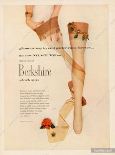 Berkshire (Stockings) 1952 David Webb — Lingerie — publicité ancienne originale
