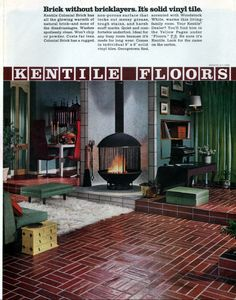 1960s Home Decor, Natural Living, Woodstock, Colonial, Family Room, Brick, Warm, Natural Life, Family Rooms