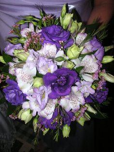 Jeanna-Purple lisianthus, alstroemeria, wax flower, and lavender freesia in bridesmaids bouquet. Bridesmaid Bouquet, Wedding Bouquets, Wedding Flowers, Bridesmaids, Wax Flowers, Fresh Flowers, Wedding Reception, Reception Ideas, Wedding Ideas