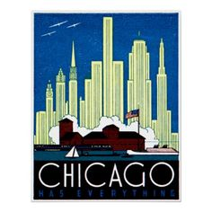 1930 Visit Chicago Print