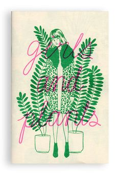 Just a zine about girls and plants!Artist: Bijou Karman Height: EditionFeatures: Risograph printed in neon pink and green by Tiny Splendor in Los Angeles, CA Gravure Illustration, Type Illustration, Book Cover Design, Book Design, Art Zine, Book Making, Graphic Design Inspiration, Screen Printing, Book Art