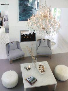 Landing… greys, creams and the chandelier