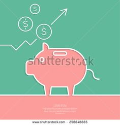 Icon Pig piggy bank. Symbol of conservation and enhancement funds. The graph shows the growth and profit. - stock vector