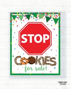 Bake Sale Poster, Bake Sale Sign, For Sale Sign, Girl Scout Law, Daisy Girl Scouts, Girl Scout Cookie Sales, Girl Scout Cookies, Gs Cookies, Custom Cookies