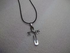 Black Leather Jesus Necklace