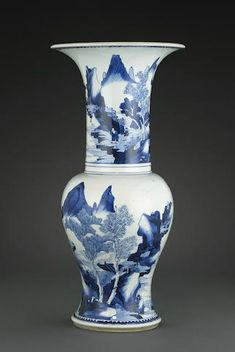 A blue and white baluster vase, Kangxi period