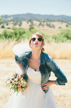 Love the jean jacket look for a casual summer wedding! | Photo by onelove photography