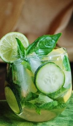 Fresh summery cocktail idea! // Savory Cucumber Herb Sangria #drink #cocktail #recipe
