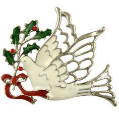 Crystal Christmas Dove Mistletoe Pin Brooch Pendant Made with Swarovski Elements   eBay