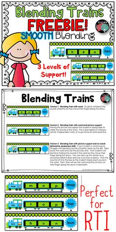 Blending Activity FREEBIE! Blending Trains reading game for phonics and fluency. TeacherKarma.com