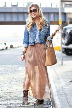 pleated maxi skirt and denim jacket