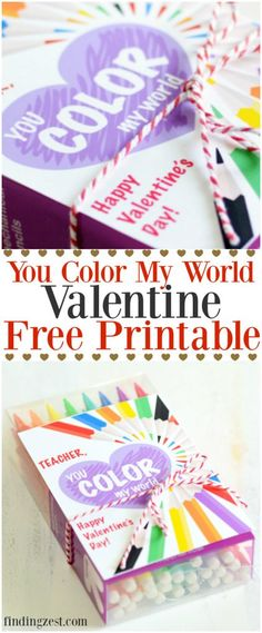 This You Color My World valentine free printable offers an option for teachers plus Valentine's Day gift ideas to pair with it!