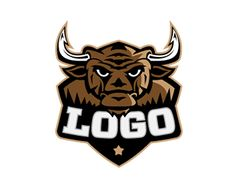 Bull Logo Logo design - A bull is represented in this non conventional, artistic and unique logo. The unique presentation combines old world charm with a new, creative bent. This conveys a feeling of old-fashioned values (such trustworthiness, quality and timelessness) with a modern flair — you won't be pigeon-holed as just another baseball team with this logo!