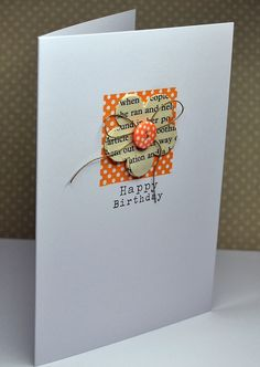 It's a dot-fest for your handmade birthday card! Match the colors of dotted background square to the dotted button. The flower is stamped with newsprint stamp, and everything is tied together with the twine bow. Handmade Birthday Cards, Happy Birthday Cards, Greeting Cards Handmade, Cool Cards, Diy Cards, Tarjetas Diy, Button Cards, Card Making Inspiration, Pretty Cards