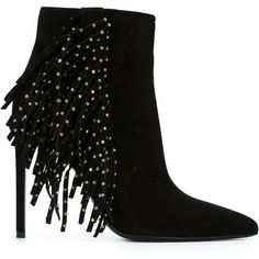 Saint Laurent fringed ankle boots (725 SGD) ❤ liked on Polyvore featuring shoes, boots, ankle booties, black shoes, heels, black, black heeled booties, leather booties, fringe ankle boots and black ankle booties