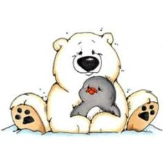 WINTER POLAR BEAR AND PENGUIN CLIP ART