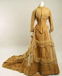 Wedding ensemble Date: 1877 Culture: American Medium: silk, cotton, leather, linen