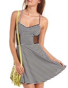 Mesh Inset Striped Skater Dress: Charlotte Russe