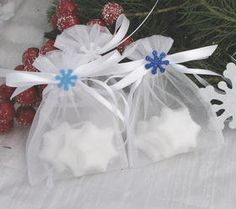 These bags would be cute with silver Hershey's kisses Soap Wedding Favors, Winter Wedding Favors, Soap Favors, Wedding Ideas, Snowflake Wedding, Snowflake Shape, Bath Gift Basket, Spa Gifts, Winter Theme
