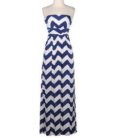 Look what I found on #zulily! Navy & White Zigzag Strapless Maxi Dress by Fashionomics #zulilyfinds
