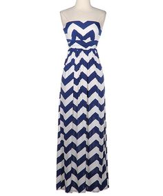 Take a look at this Navy & White Zigzag Strapless Maxi Dress by Fashionomics on #zulily today!