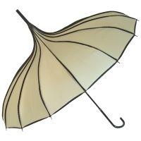 Gothic Umbrella, Beige Ribbed Gothic Pagoda Umbrella / Ivory Parasol