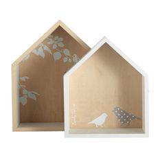 2 Regale BIRDS in Häuschenform aus Holz, H 30cm und H 35cm, weiß