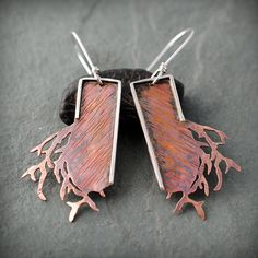 Textured Copper Branch Earrings by jewelrybynaomi on Etsy, $90.00