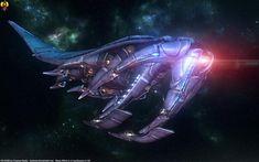 The Sovereign class Reaper in flight mode. Mass Effect - Sovereign class Reaper Mass Effect Ships, Mass Effect Art, Robot Concept Art, Game Concept Art, Mass Effect Reapers, Sci Fi Ships, Original Trilogy, Science Fiction Art, Sci Fi Fantasy