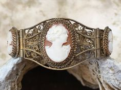Sterling Silver Filigree Cameo Bracelet - Yourgreatfinds, Vintage Jewelry - 1