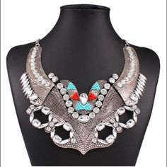 Antique Look Silver Boho Bib Necklace Details to come. Jewelry Necklaces