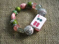 Pink Mahjong Tile Bracelet - Jesse James Beads Jewelry - Mahjong Jewelry by MahjongJewelry on Etsy