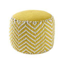 yellow cotton round woven pouffe | Maisons du Monde