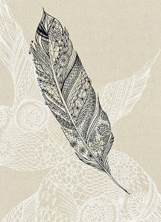 feather doodle/tangle ... white and black on pale kraft ... lovely ...