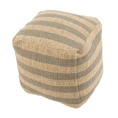 """Modern  Beige/Gray Cube Shape Wool (16""""x16""""x16"""") Pouf"""