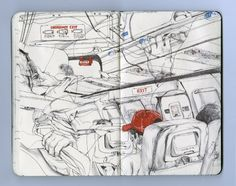 James Jean's sketchbook.  The use of color is fantastic in this. The overlapping suggestions of typing hands on a laptop and a guy sleeping with headphones on blows me away. I love how he puts you right in that seat on the plane and stimulates all your senses through only one, sharing the experience of the flight.
