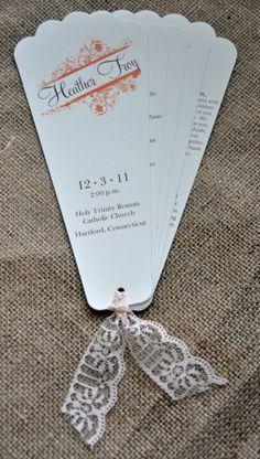 100 Vintage Scalloped Wedding Fan Programs by WiregrassWeddings, $195.00