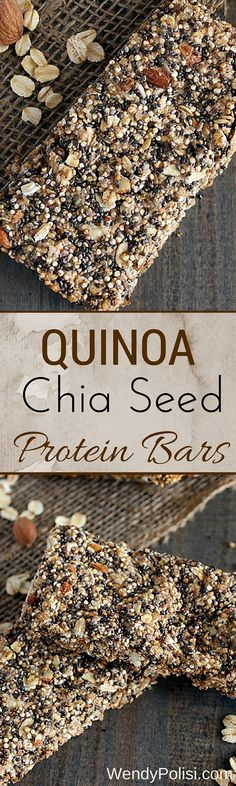 Quinoa Chia Seed Protein Bars. These protein bars are made with all clean eating ingredients so make a batch to take for snacks or a quick, healthy breakfast. Pin now to try later.