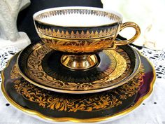 German tea cup and saucer black and gold teacup Marriage set plate Germany…